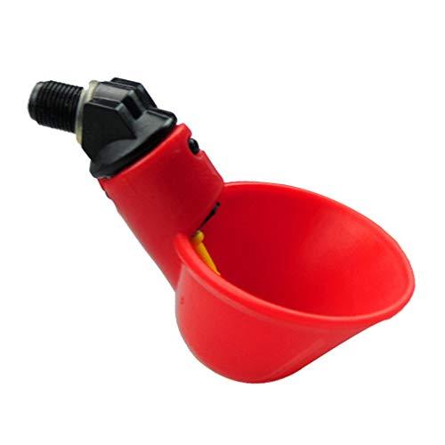 Uniquelove Bebedero De Aves De Corral Completamente Automático Bebedero De Palomas De Pollo Ahorro De Agua Tazón De Beber Duradero Alimentador De Aves De Corral - Negro Rojo