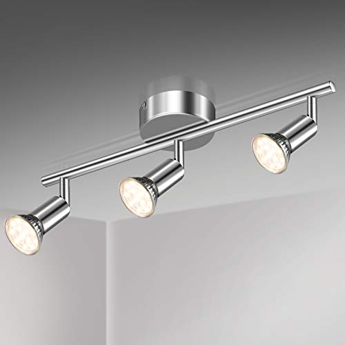 Unicozin Lámpara de Techo LED 3 Focos Ajustables y Giratorios, incl. 3 X Bombillas GU10 3.5W 380LM Blanco Cálido, Cromo para dormitorio habitacion salon cocina
