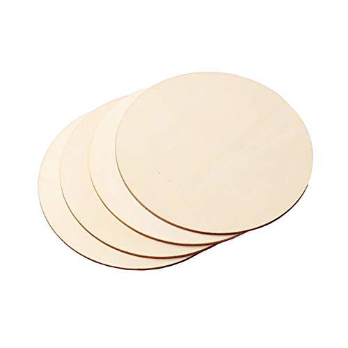 FSSTUD 4 Stück Runde Holzscheiben Holzplatten Holzplättchen Holzkreise für DIY Handwerke