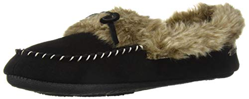 Acorn Womens Cozy Fur Moc Slipper, Black, Size Large