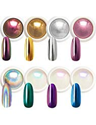 Beetles Chrome Nail Powder Mirror Effect Holographic Aurora Iridescent Pearlescent Manicure Art Decoration Glitter, 8 Colors 1g or 0.5g/Jar