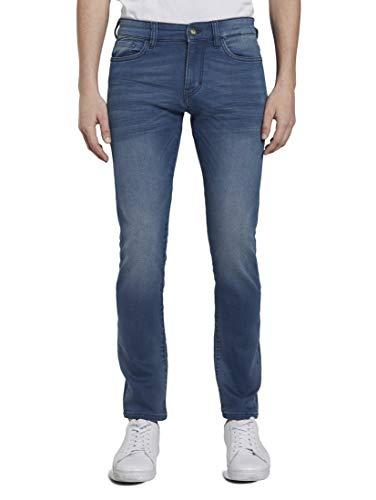 TOM TAILOR Herren Jeanshosen Troy Slim Jeans in Sweat-Optik mid Stone wash Denim,34/34