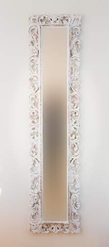Rococo Espejo Decorativo de Madera Español Long de 40x180cm en Blanco decapado