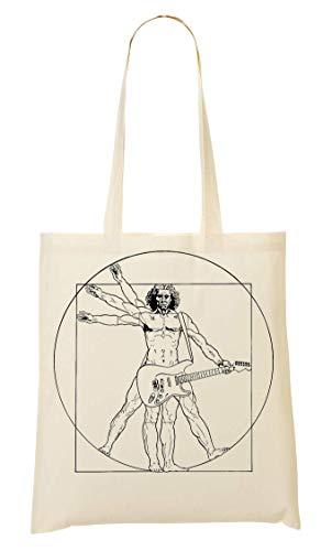 Leonardo Da Vinci Rockstar Funny Tragetasche Einkaufstasche
