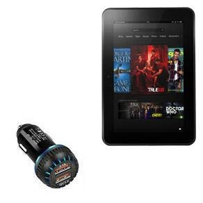 Kindle Fire HD 8.9 (2nd Gen 2012) Car Charger, BoxWave [QC3.0 Dual Car Charger] Dual Charger for fast multi-device charging for Amazon Kindle Fire HD 8.9 (2nd Gen 2012) - Jet Black
