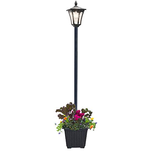 Outdoor Solar Lamp Post Light with Planter, 80 Inch Solar Powered Street Bulb Lights with Planter for Outdoor Landscape Vintage Pathway Street Patio Garden Yard