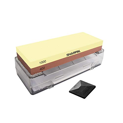 SHARPAL 139H 8 x 3 inch Large Whetstone Knife Sharpening Stone with Storage Base, 2 Side Grit 2000/6000 Waterstone, Best Bench Stone Sharpener, with NonSlip Base & Angle Guide
