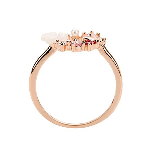 N-A Butterfly Flowers Crystal Finger Wedding Rings for Women Rose Gold Zircon Ring Jewelry Girl Gift