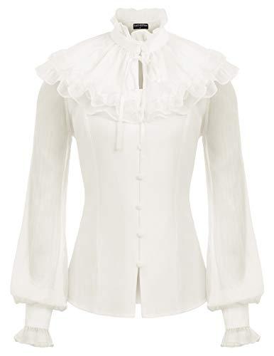 Womens Victorian Blouse Renaissance Shirts Costume Ruffle Cape Neck Tops L Ivory