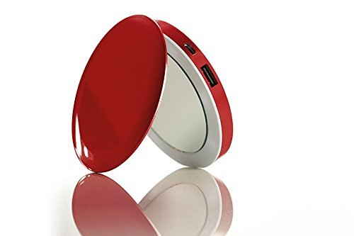 DRP-PL3000RED Pearl Compact Mirror Usb Rechargeable Battery Pack,...
