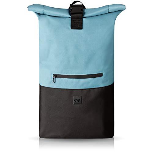 URBAN ZWEIRAD Roll-Top Rucksack 35l - Lifestyle Rucksack für Den Alltag - Wasserabweisend & Sehr Individuell Packbar - Damen & Herren (Blau)