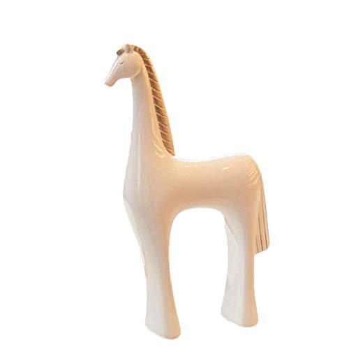 LIUSHI Escultura Caballo Moderno Resina Animal Minimalista Creativo Europeo Gabinete de Vino Adorno Decoración Artículos para el hogar Sala de Estar Estatuas de gabinete de TV (Color: Blanco)