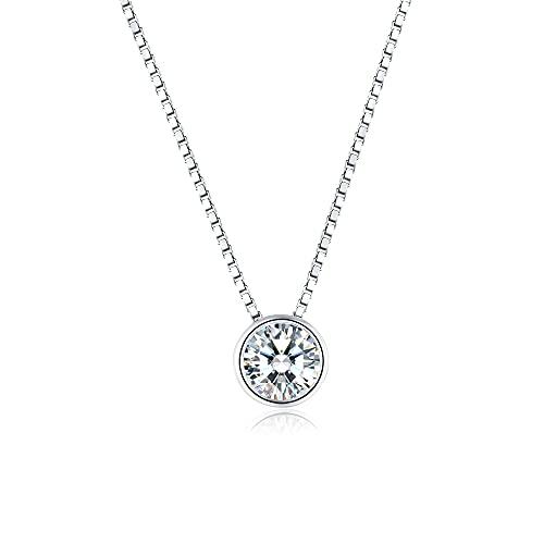 Collar con Colgante Cristal Collares Solitario Plata Mujer