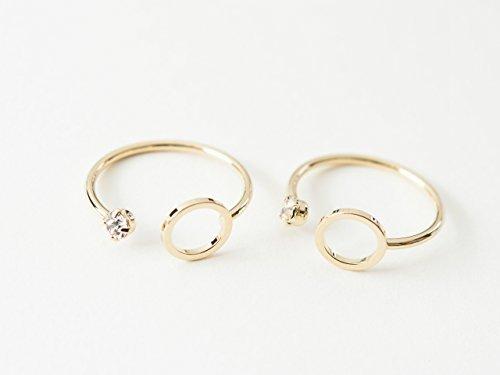 Gaas en studio Ring messing steen & rond goud met hars frame 2 stuks