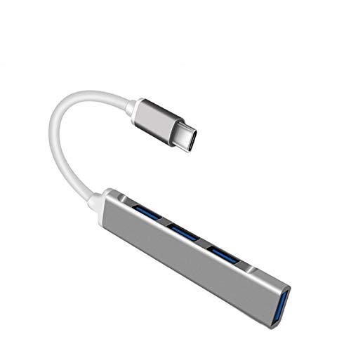 Hub USB C, adaptador multipuerto USB C 4 en 1, compatible con puertos USB 3.0 de la serie Windows, Mac OS, Linux, dispositivos USB C, etc.