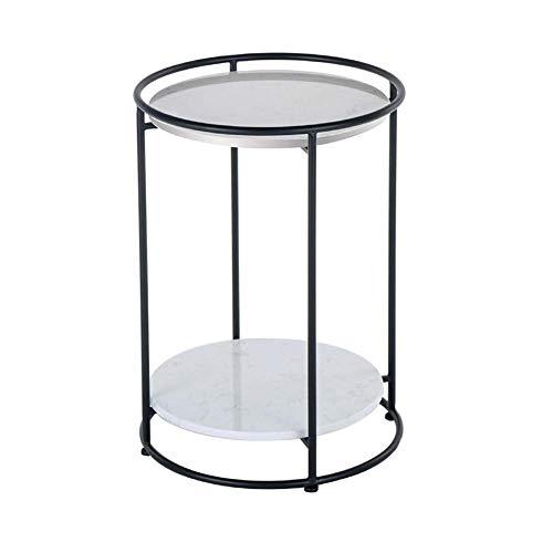 N/Z Wohnausstattung 2-stufiger runder Beistelltisch Beistelltisch Kleiner runder Ecktisch Couchtisch Modern Condo Schlafzimmer Wohnzimmer Marmorseite 16,9-mal; 16,9-mal; 23,6-Zoll schwarz