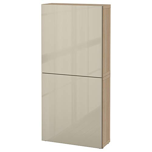 BESTå Hängeschrank mit 2 Türen 60x22x128 cm weiß gebeizt Eiche Optik / Selsviken hochglanz / beige