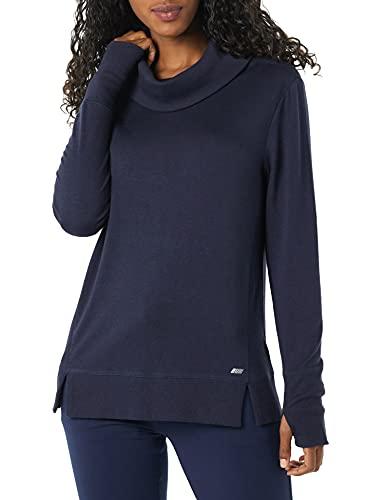 Amazon Essentials Studio Terry Long-Sleeve Funnel-Neck Sweatshirt Sudadera, Azul Marino Oscuro, L