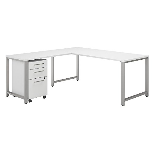 Bush Business Furniture 400 Series L Shaped Desk with 48W Return and 3 Drawer Mobile File Cabinet, 72W x 30D, White