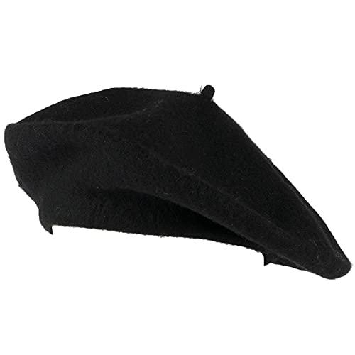 Hat To Socks Einfarbige Baskenmütze aus Wollgemisch für Damen & Herren (Schwarz)