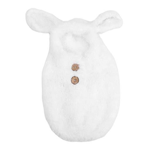 Accessoires de photographie de bébé, sac de couchage tricoté au Crochet pour bébé Ultra doux, fil de laine mignon, enveloppe le cadeau d'anniversaire pour les bébés de 0 à 3 mois(blanc)