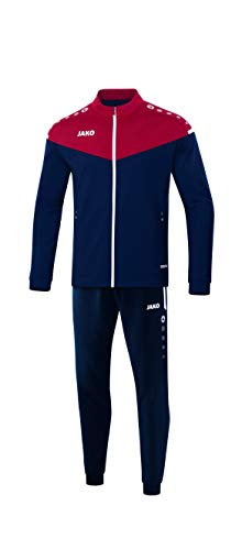 JAKO Kinder Trainingsanzug Polyester Champ 2.0, marine/chili rot, 164, M9120