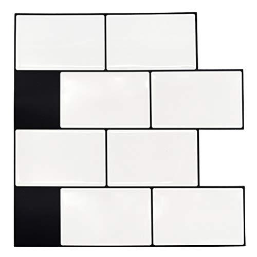 "Uoisaiko 10"" x 10"" Peel and Stick Wall Tile for Kitchen Backsplash, 4 Sheets 3D Decorative Subway Tile Stickers Stick on Tiles Backsplash"