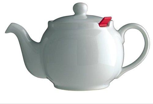 London Teapot Company - Chatsford - Teiera per 4 Tazze con 1 Filtro Rosso, Colore: Bianco