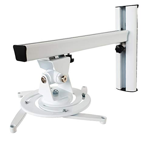 OKSI - Soporte de Pared para proyector (Giratorio 360°, Extensible), Color Blanco