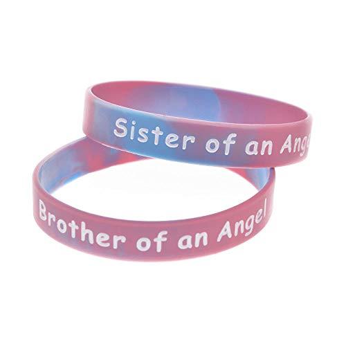 Zdy 2st siliconen armband zuster en broer van een engel siliconen armband