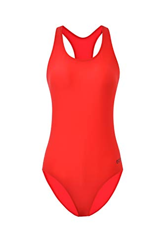 Eono Essentials Badeanzug für Damen (Rot, Größe S)