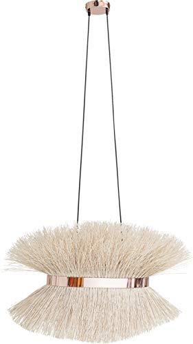Kare Design hanglamp Straw, hanglamp voor woonkamer en eetkamer met sierring in de kleur goud, rotan lampenkap, natuurkleurige eetkamerlamp, (H/B/D) 150x80x28cm