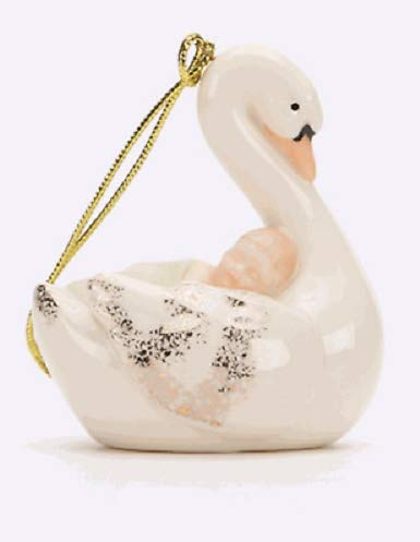 Lenox Peaceful Slumber Baby sleeping on a Swan Porcelain Ornament 24 k gold accents Baby Birth New in box