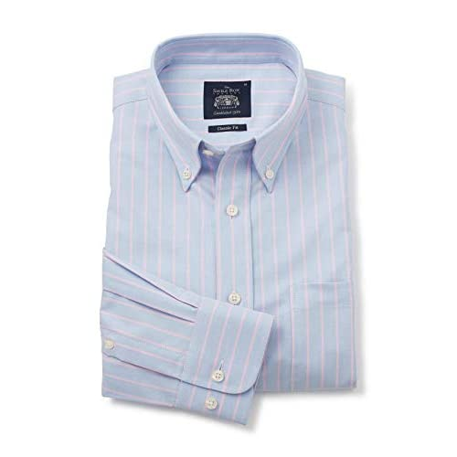 Savile Row Men's Casual Classic Fit Button-Down Collar Shirts