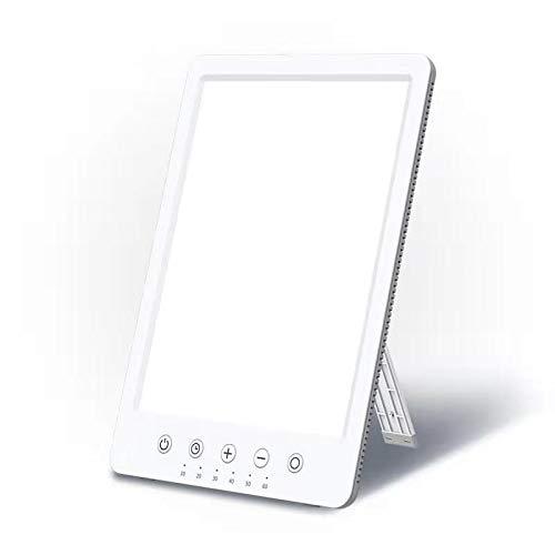 Tageslichtlampe 10000 Lux Lichttherapielampe gegen Depressionen LED Tageslichtleuchte Easysleep Lichtdusche mit UV-freies Simuliertes Sonnenlicht 10 Helligkeitsstufen 6 Timer Standfuß Schrabe