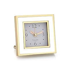 Addison Ross White & Gold Square Silent Alarm Clock