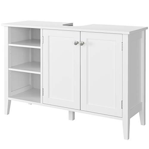 Homfa Waschbeckenunterschrank Unterschrank Waschtischunterschrank Badschrank mit Tür und mit 3 öffenen Ablagen Weiß Holz 90x30x60cm