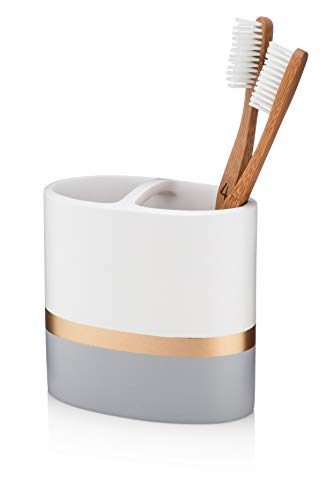 Essentra Home Day and Night Collection White and Grey with Gold Stripe Toothbrush Holder
