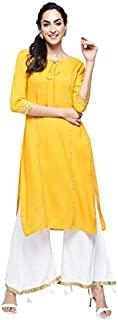 Stylum Women's Festive & Party Wear Rayon Gota Lace Work Straight Kurta Palazzo Set