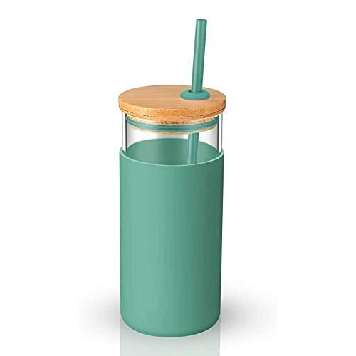 miaoyu Botella de agua deportiva de 20 onzas con una sola pared, tapa de madera, botella de vidrio con pajita, botella de agua para exteriores (color verde)