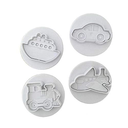 Bongles 4 Pc-küche-silikon-Kuchen-Form Küche Mold Auto Schiff Bahn Flugzeug-backen-Form-Fondant-Formen Kuchen-Dekoration Werkzeuge
