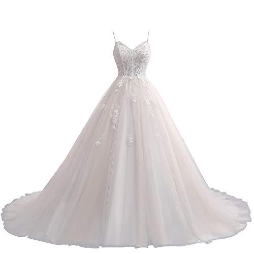 Damen Brautkleider Lang A-Linie Hochzeitskleid Glitzer Brautmode Spitze Vintage Standesamtkleid Prinzessin Elfenbein 56