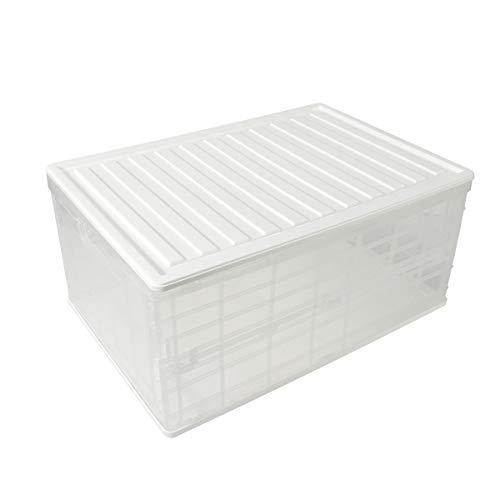 SOSTUDIO - Cassetta pieghevole in plastica, con coperchio, per camera da letto, armadio, cucina, bagno, stivali, guardaroba, maniglie per il trasporto, risparmio di spazio (28 litri)…