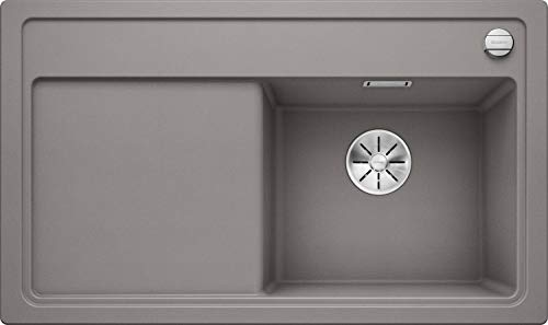 BLANCO 523711zenar 45S S Silgranit PuraDur con telecomando per scarico, con tagliere di vetro piatto destro alumetallic, Alluminio Metallizzato