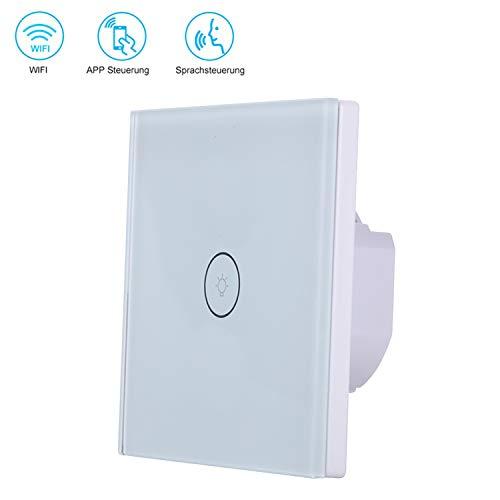Smart Alexa Lichtschalter, Wlan Wifi Lichtschalter kompatibel mit Alexa Echo und Google Home Timing-Funktion mit gehärtetem Glas Touchscreen, Steuern Sie Ihre Geräte von überall (1 gang)