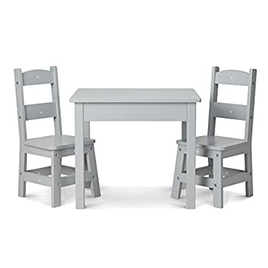 Melissa & Doug Wooden Table & Chairs-Gray Kids Furniture