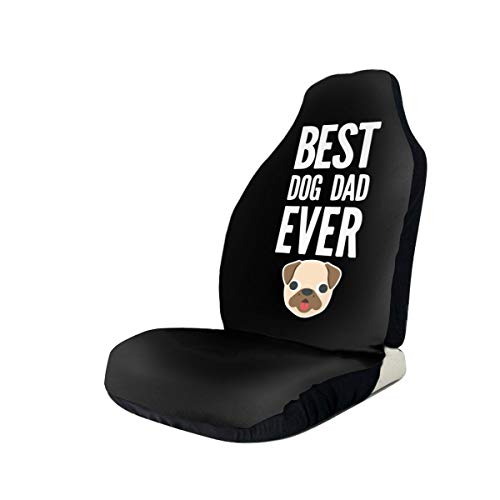 MEYU3ZU Best Dog Dad Ever Front Seat Covers Fit Most Suvs Cars Truck Van Sedan 1/2 Pcs