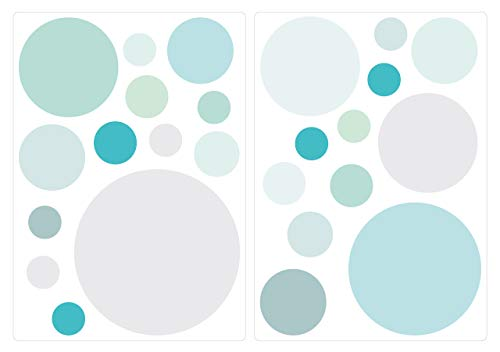 Sticker mural Cercles en pastel tendres tons de bleu et vert points coller