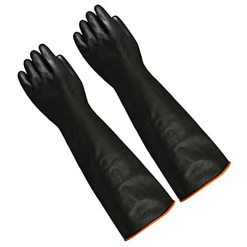DODUOS Arbeitshandschuhe Handschuhe Säurefest Chemikalien Naturgummilatex Gummihandschuhe Lang Industrie Anti Chemische Säure Alkali - 55cm & Schwarz