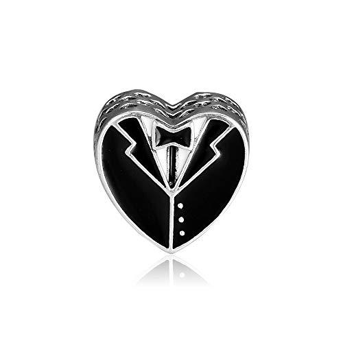 LILANG Pandora 925 Pulsera de joyería de Plata esterlina Natural Nuestro Encanto de día Especial Cuentas de Esmalte Blanco y Negro Regalo de DIY para Mujer